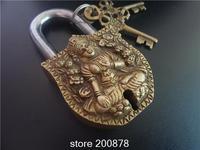 HDC0743 Tibet Nepal Antiqued Solid Brass Golden Tara Locks Tibetan Metal Handicrafts Retail Wholesale Free Shipping