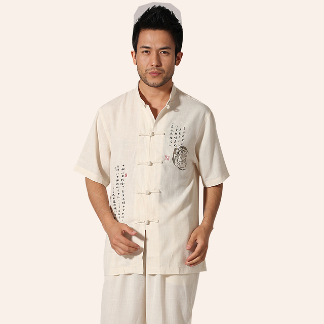 Hot New Beige Male Summer Short Sleeve Shirt Cotton Linen Kung Fu Shirt Chinese National Clothing Size M L XL XXL XXXL MNS29