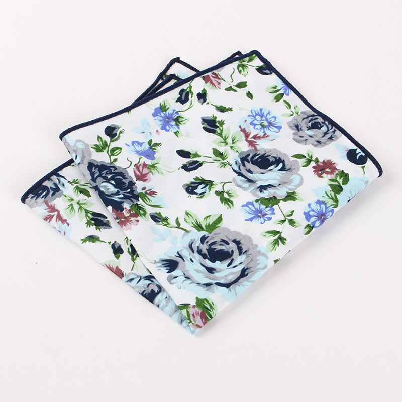 Mens Floral Printed Cotton Handkerchiefs Pocket Square For Gentlemen Wedding Party Suit Chest Towel Pocket Hanky