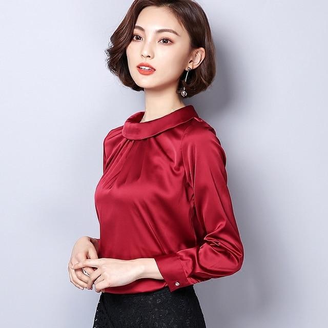 Casual Silk Blouse Loose Long Sleeve OL Work Wear Blusas Feminina Tops Shirts Plus Size XXXL 3