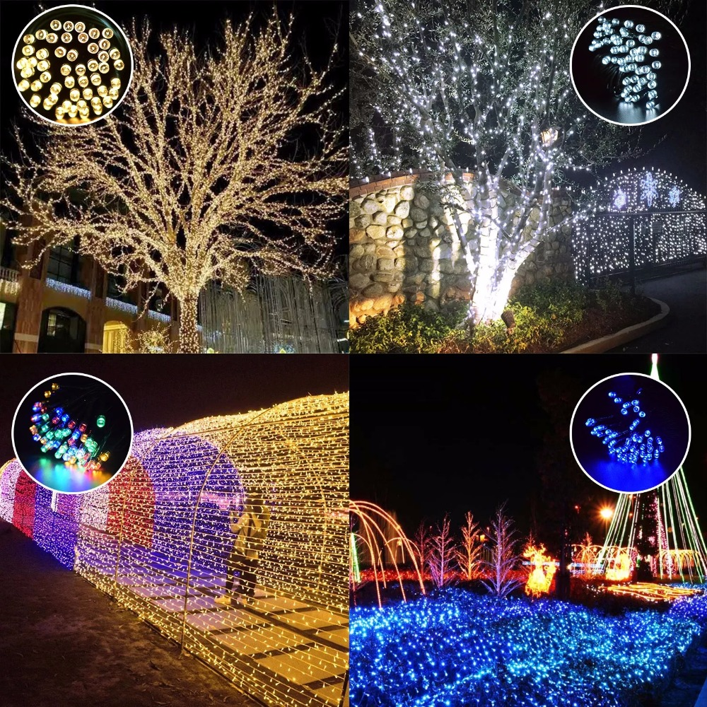 LED Solar String Fairy Lights outdoor Premium Quality Waterproof Solar Power 7 Colors For Christmas Holiday Party Yard Garden in Solar Lamps from Lights Lighting