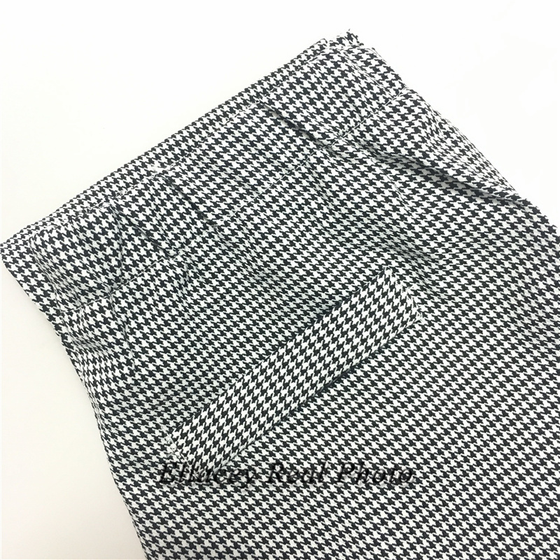 New 19 Spring Autumn Fashion Women's Business Pants Suits Houndstooth Checker Pattern Ruffles Suits For Women 2 Pieces Set 18