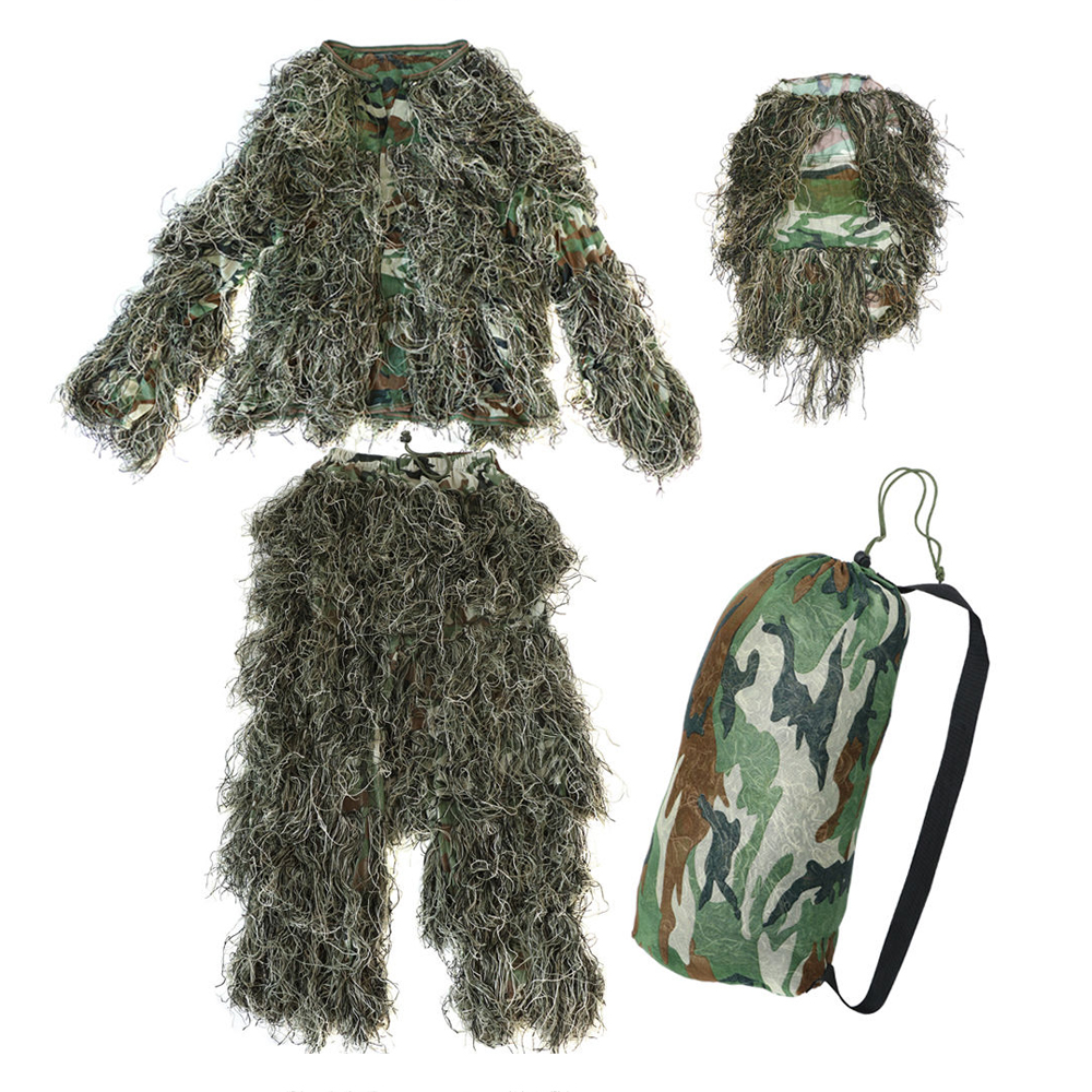 5 pieces New Ghillie Suit Camo Woodland Camouflage Forest Hunting 3D