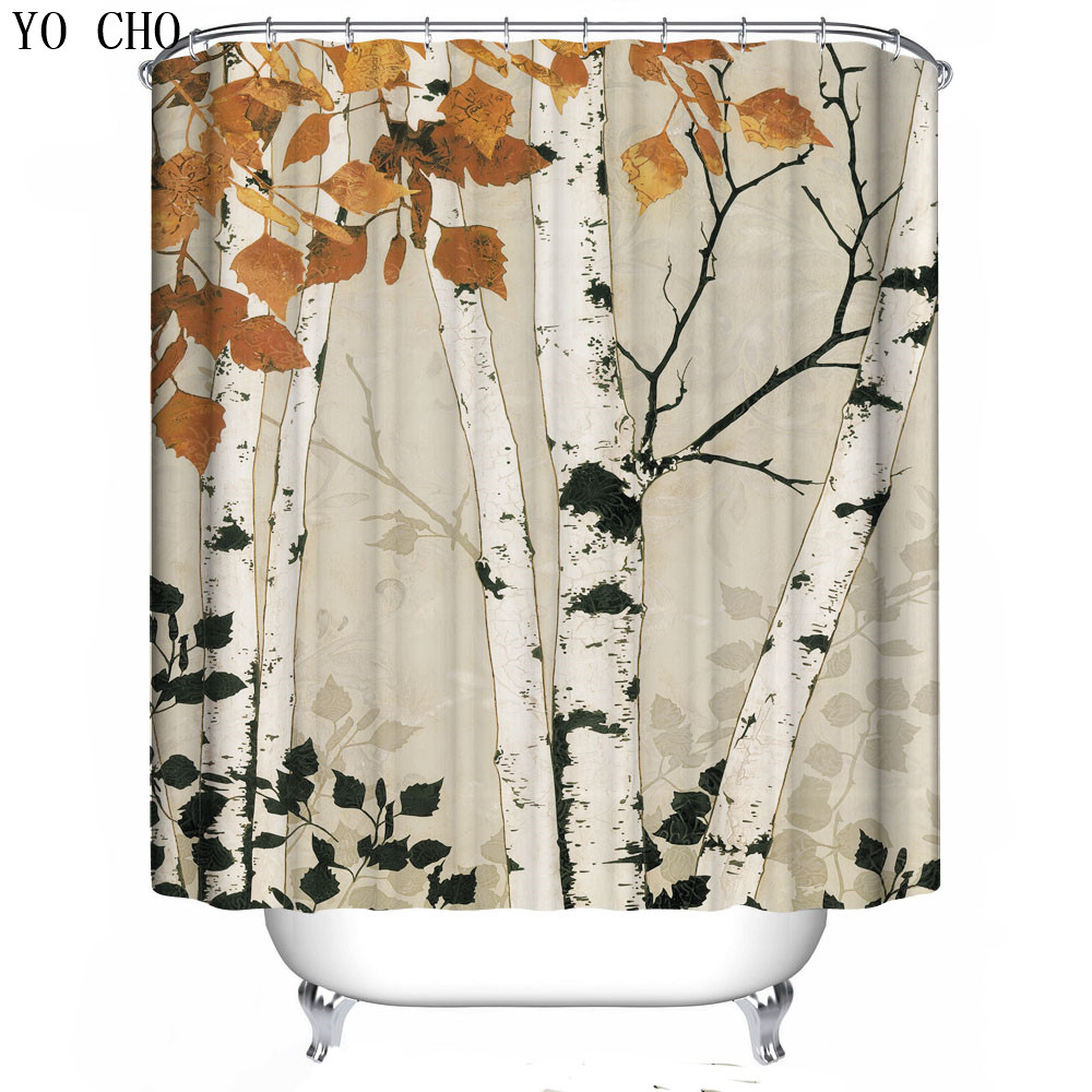 Birch tree shower curtains - Modern Tree Waterproof 3d Shower Curtain Snow Polyester Fabric Bath Bathing Bathroom Curtains With Hooks For