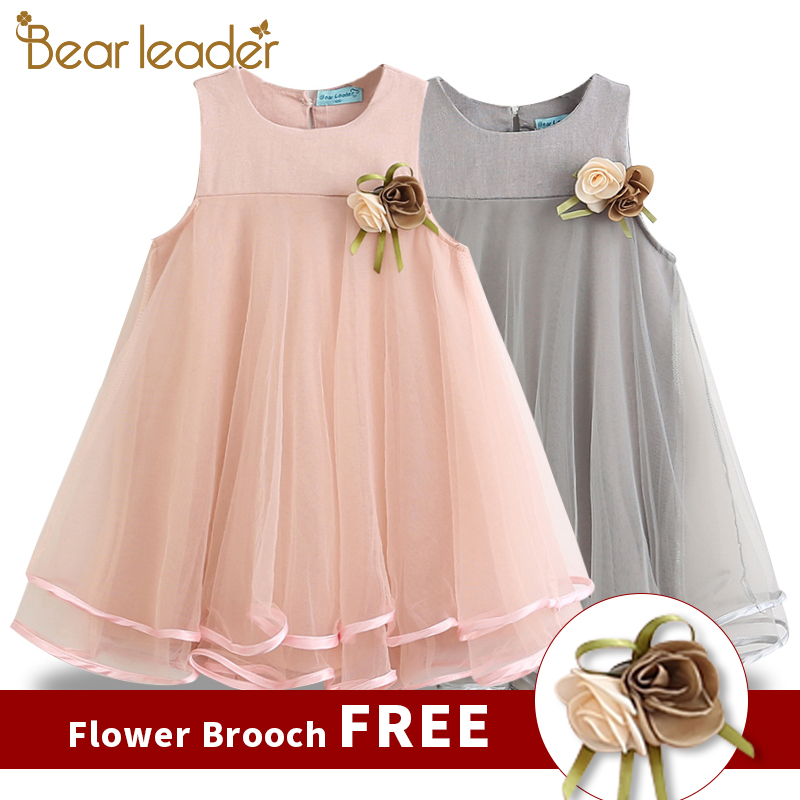 Bear Leader Girls Dress 2019 Brand Princess Dress Sleeveless Appliques Floral Design For Girls Clothes Party Dress 3-7Y Clothes(China)