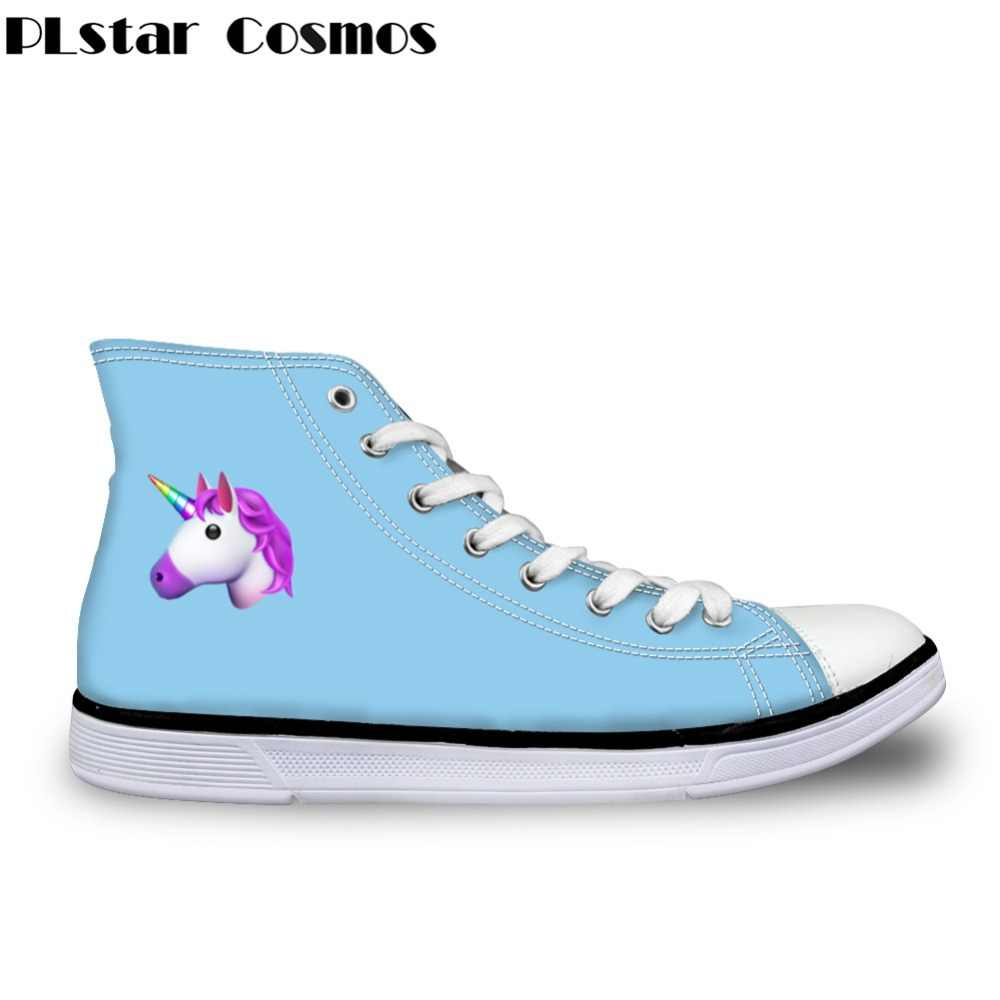 57517e7578ae8 Plstar Cosmos 3D Unicorn Print Man/Women Vulcanize Shoes High Top Canvas  Shoes Rainbow for Ladies Flats Female Casual Shoes