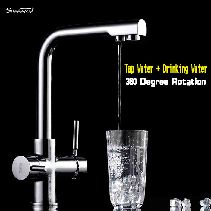 New Free Shipping Brass Chrome Kitchen Faucet Sink Mixer Dual Water 360 Degree Rotation Tap