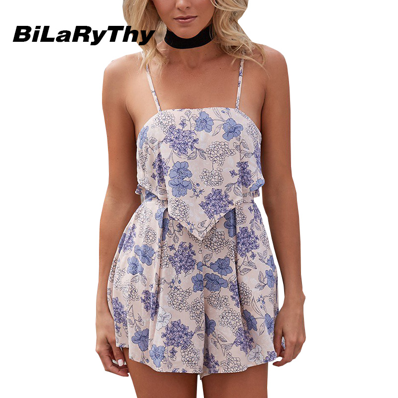Summer Bohemian Beach Style Womens Short Loose Jumpsuit Spaghetti Strap Rompers Floral Printed Backless Playsuits Overalls