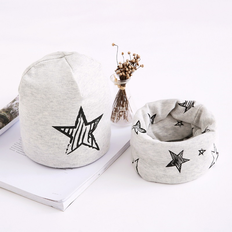 Children Hats Cotton Star Print Baby Hat Cap For Girls Boys Winter Cap Scarf Set Kids Caps 3 months to 8 Years(China)
