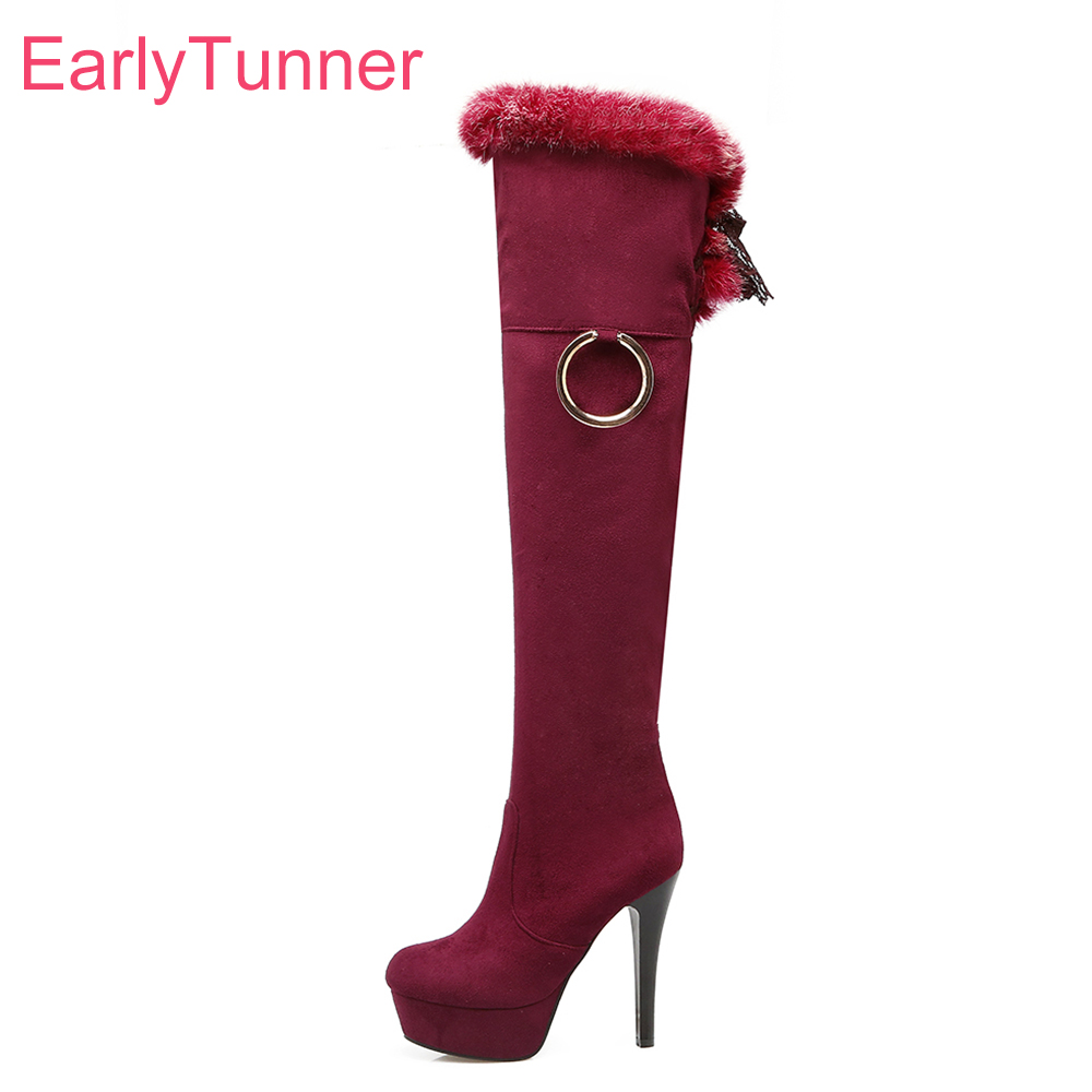 Brand New Winter Sexy Platform Women Thigh High Furry Boots Black Red Lady Over The knee Shoes Heel ET31 Plus Big size 10 43 стоимость