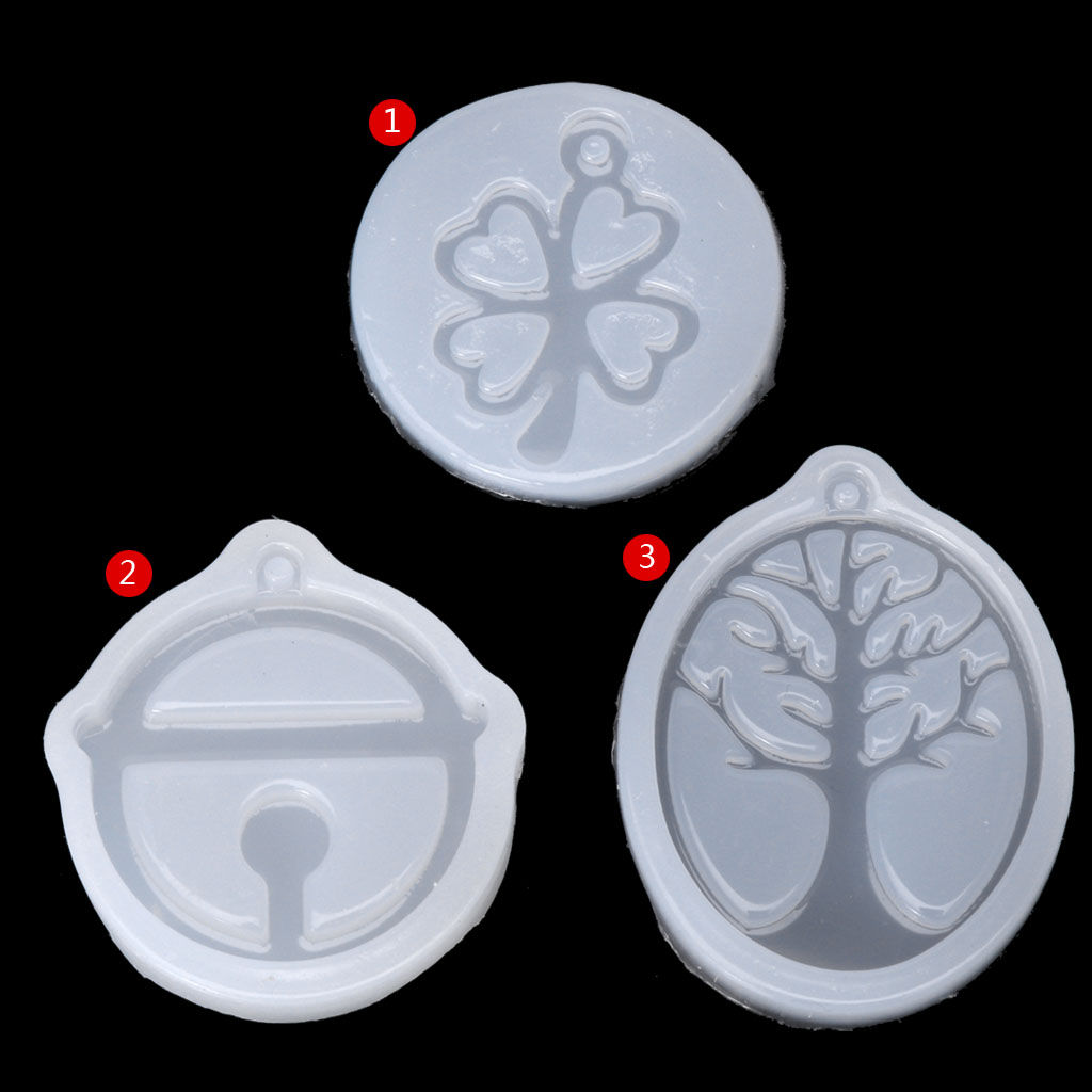 UV Resin Jewelry Liquid Silicone Mold Clover Bell Tree Frame DIY Jewelry Pendant