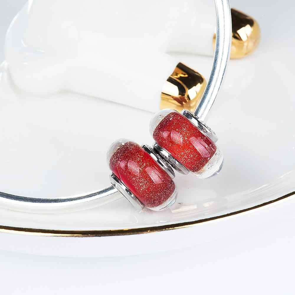 Cuentas de cristal de murano de Edad Dorada encantos de Plata de Ley 925 pulseras de ajuste joyería de moda VDLL033
