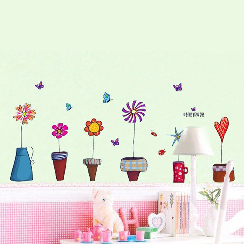 HTB1sfNDKVXXXXaTXpXXq6xXFXXXN - Cute Flower Wall Sticker Kitchen Window Sticker Butterfies Wall Stickers Home Decor Bathroom Vinyl Wall Decals Kids Rooms Decor