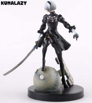 80a6b298f Juego NieR: automóvil 2b yorkha n. ° 2 tipo B vestido negro de lucha Ver  Modelo batalla decoración Anime figura de acción colección juguete 24 cm