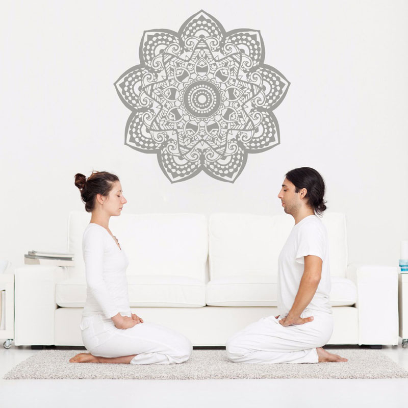 Mandala Wall Decal Removable Vinyl Om Sign Wall Sticker Yoga Studio Wall Art Mural Home Decoration Bohemian Boho Art MTL16-in Wall Stickers from Home & Garden