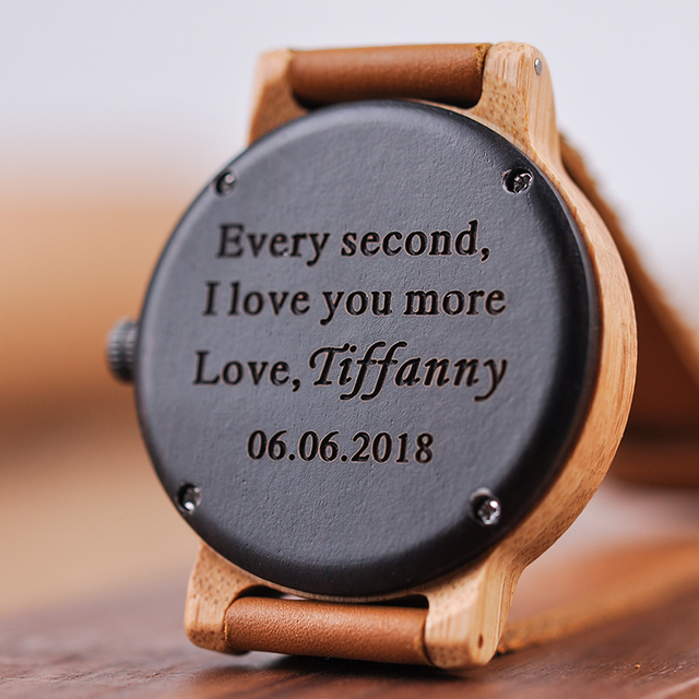 Personalized Best Gifts Engraved Wooden Watches to Dad,,Mom, friends, Birthday,Anniversary Day,Groomsman Gift 4