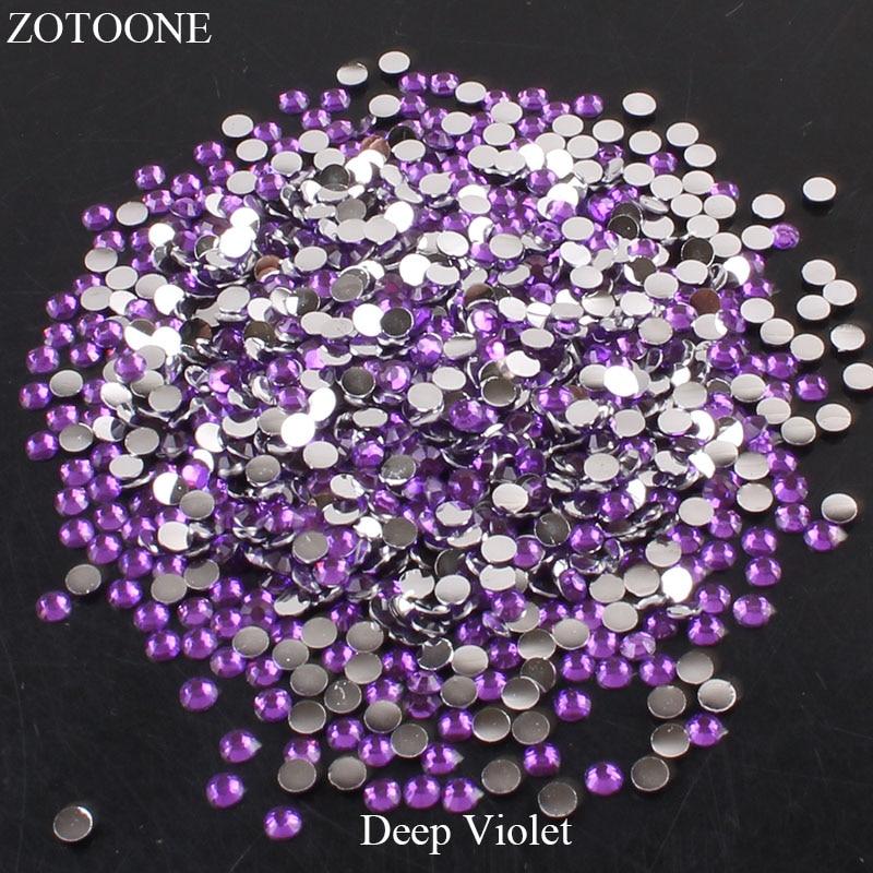ZOTOONE 2-6 мм 1000 шт прозрачные Стразы AB без горячей фиксации плоские с оборота Стразы для ногтей для одежды ногти 3D дизайн ногтей украшения - Цвет: Deep Violet