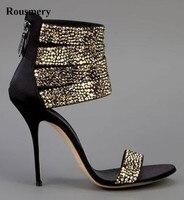 Summer Hot Sale Women Fashion Open Toe Bling Bling Gold Sliver Strap High Heel Sandals Ankle Wrap Gladiator Sandals Dress Shoes