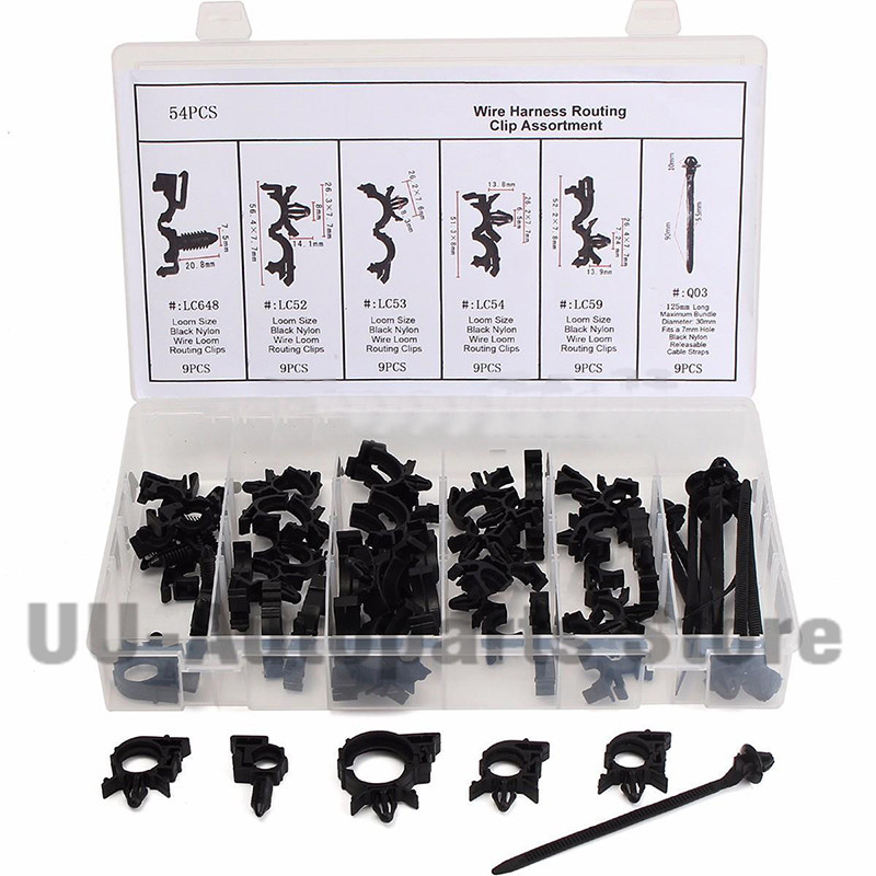 54 pcs/lot Durable Wire Loom Routing Clip Wiring Harness Assortment ...