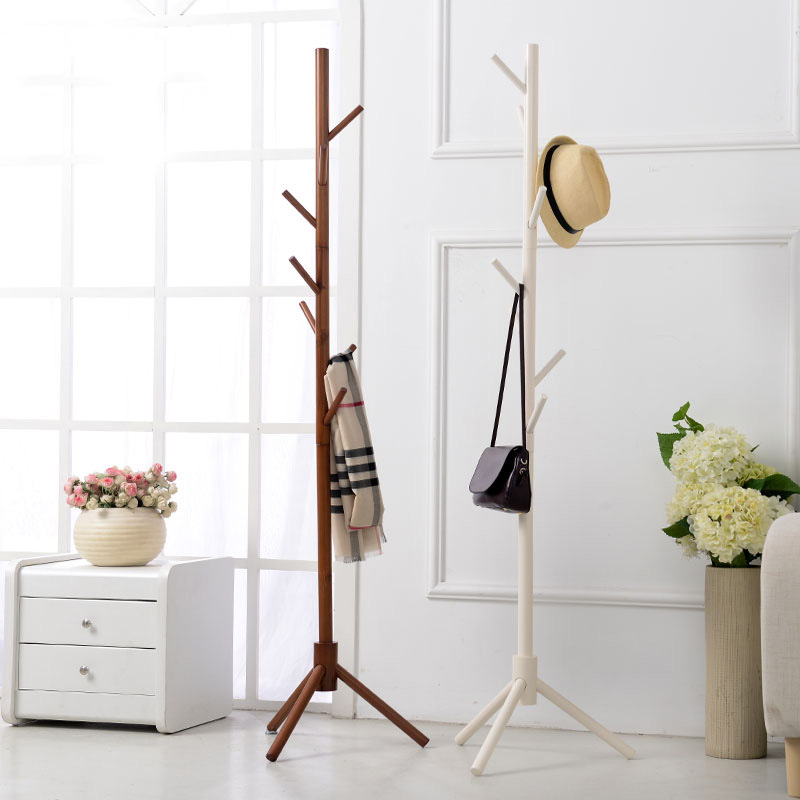 8 Hook Modern Colorful Coat Hanger stand for hall furniture Simple Wooden Floor Clothes Rack Bedroom Living Room lanskaya 2018 perchero de ropa modern bamboo floor clothes tree bag hat rack coat hanger furniture bedroom hook hanging hooks