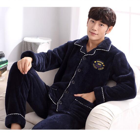 Pyjamas men Long-sleeved coral velvet men's pajamas Home clothes for men