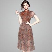 100% Mulberry silk Dress Top Quality Chinese Style Summer Dresses Modern Cheongsam Elegant Lightsome Wear for women