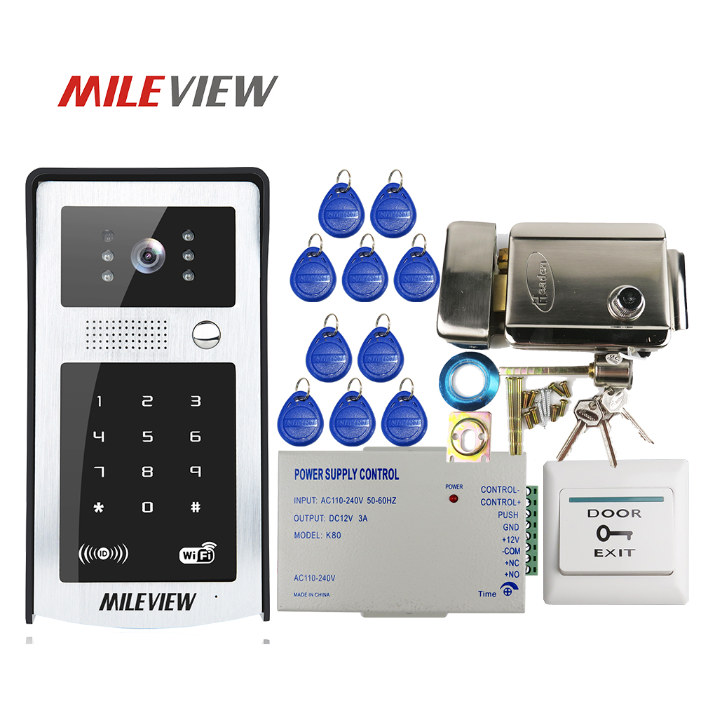 FREE SHIPPING RFID Code Keypad Wifi 720P HD Video Door Phone Intercom Outdoor Bell for Android IOS Phone + Electric Control Lock free shippping rfid access wireless lan wifi video door phone intercom metal outdoor bell camera for android ios phone tablet