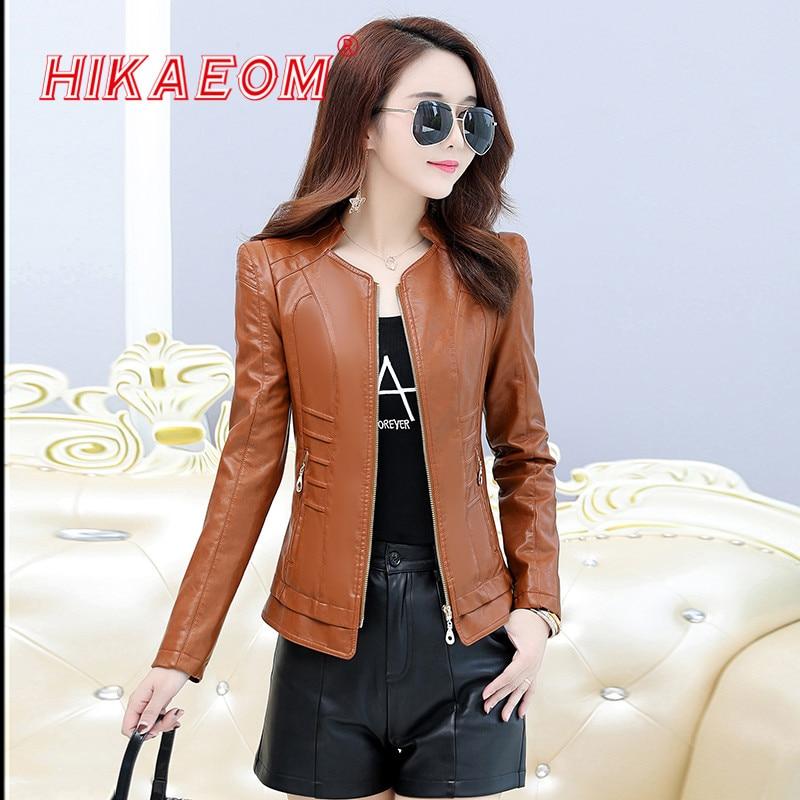 Autumn   Leather   Jacket Female Casual Long Sleeve Faux Short Coat Fashion Zipper Plus Size PU Bomber Biker Slim Jacket Femininas