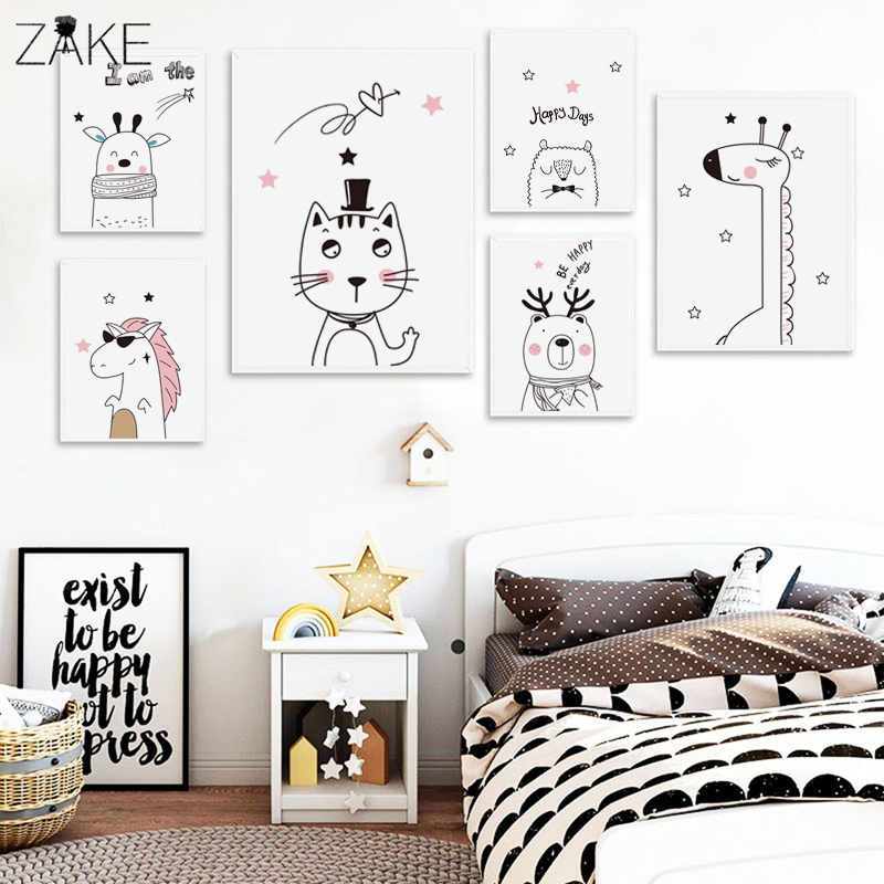 Giraffe Bear Cat Animal Posters and Prints Canvas Art Painting Wall Nursery Decorative Picture Nordic Style Kids Decoration