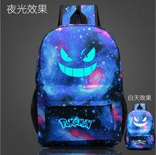 2016 New Fashion sac a dos Noctilucent Pokemon Backpack Boy Girl School Bags For Teenagers Gengar