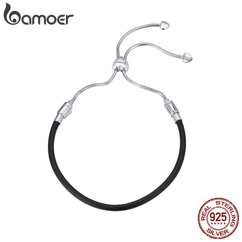 BAMOER Authentic 925 Sterling Silver Classic Black Leather Lace Up Chain Bracelets for Women Sterling Silver Jewelry SCB120-in Chain & Link Bracelets from Jewelry & Accessories