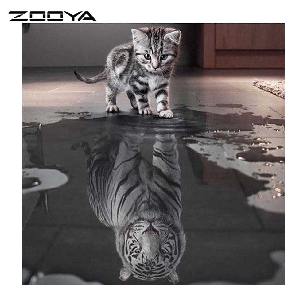 ZOOYA gyémántfestés cica macskák állati 5d készlet gyémánt hímzés képek strasszos mozaik készlet gyémánt mozaik dekoráció RF866