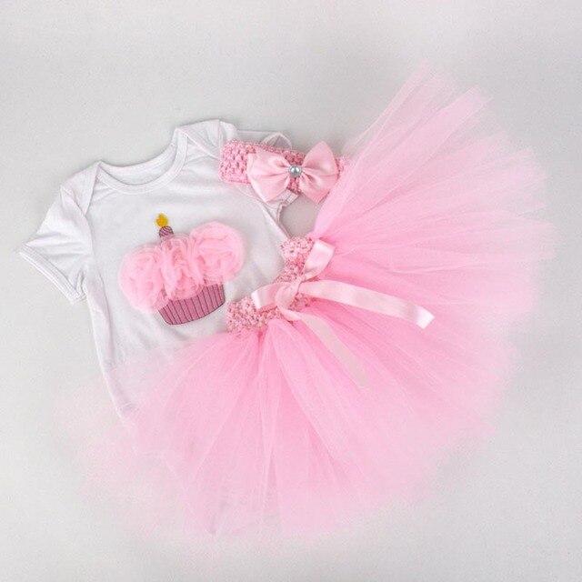1-Years Old Baby Girls Birthday Short Sleeve 3pcs Clothes Suit Romper +Headband+Tutu Princess Skirt Baby Summer Infant Clothing