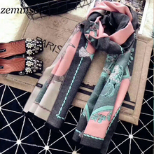 Za Winter Vintage Scarf For Women Wrap Bandana Print Bee Blanket Lady Scarves Shawl Cape Cashmere Solid Hijab Stoles