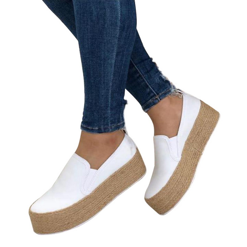 Shoes Women Platform White Sneakers Lace-Up Spring-Leather Round-Toe Thick-Bottom SHUJIN