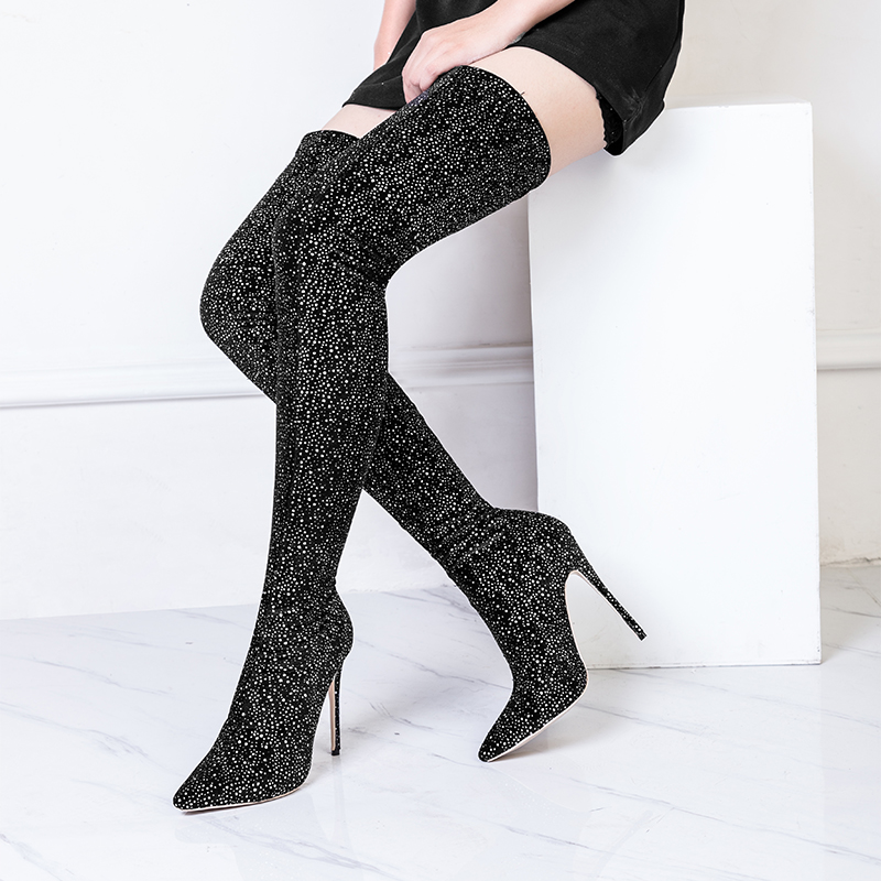 Sexy Hauts Pointu Genou Hiver Or Haute Bout Salu Leopard Bottes Sur Talons Femmes Mode Mince Argent Stretch Le Chaussures Cuisse n80ddXPB