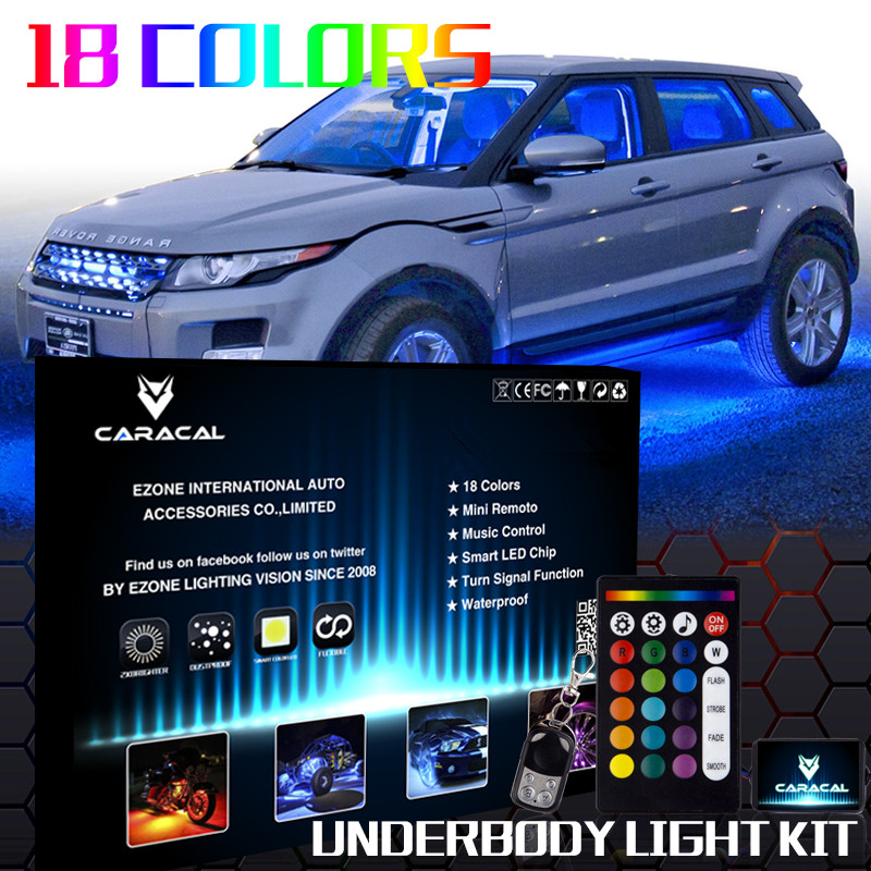 ALL COLOR 10pcs LED Neon Strip Under Car Glow Light Strip Undercar Underbody Underglow Kit car styling 7 color led strip under car tube underglow underbody system neon lights kit ma8 levert dropship
