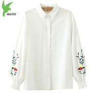 2018 Spring and Summer Women Shirts Tops Plus size 4XL Fashion Embroidery Long sleeve Shirt Puff sleeves Casual Tops OKXGNZ 1655