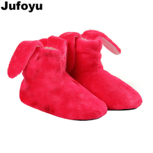 Фотография JUFOYU kids New Indoor Home Slippers Flannel Shoes Plush Home Slippers children Wooden Floor Slippers For Girls Candy Shoes