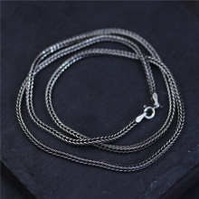 100% 925 Sterling Silver Necklace Chain 45cm to 75cm Chopin chain for Men Women Sweater Chain Clavicle Chain Black Jewelry недорого