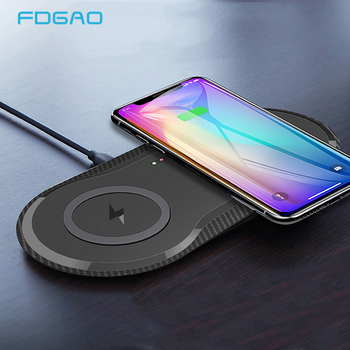 20W Double Qi Wireless Charger Pad for iPhone 11 XS XR X 8 AirPods Pro 10W Dual Fast Charging Dock Station For Samsung S10 S20 fast qi 10w wireless charger stand for iphone xr x 8 plus samsung s10 huawei p30 pro in mobile phone charger dock station
