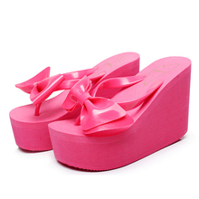2016 fashion high quality women shoes high with sandals bow slippers summer beach platform flip flops sandalias mujer s245