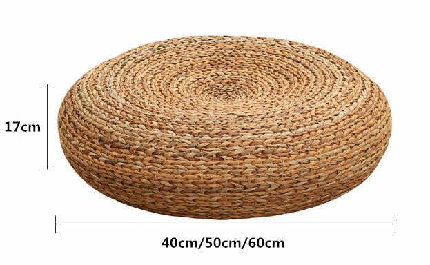 coussin de siege en paille tricotee artisanal et ecologique rembourre pouf en ecorce banane mobilier de siege de sol tatami