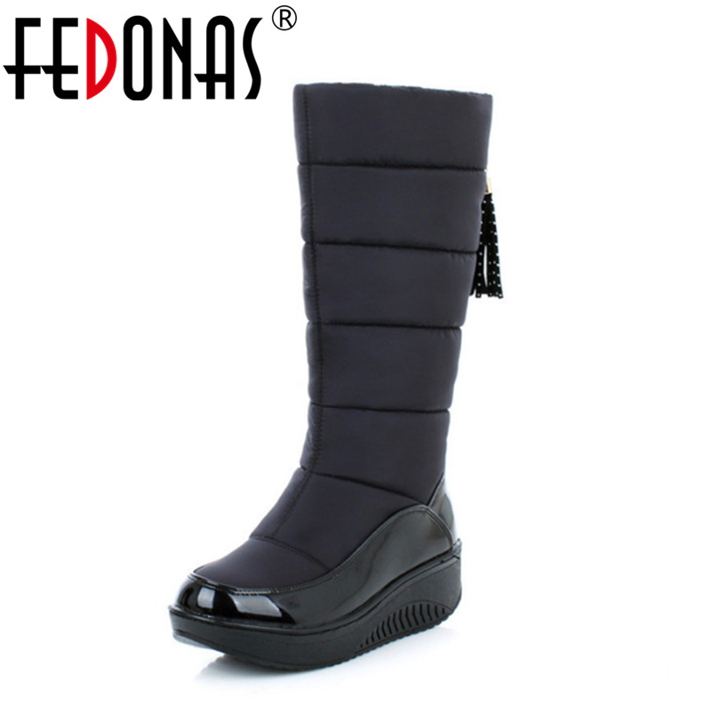 FEDONAS Top Quality Russia Keep Warm Snow Boots Women Patent Leather Platforms Mid Calf Boots Footwear Winter Shoes Woman Black double buckle cross straps mid calf boots