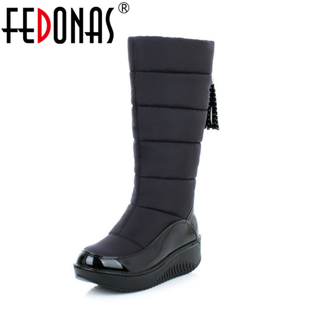 2fda3133dcd3 FEDONAS Top Quality Russia Keep Warm Snow Boots Women Patent Leather  Platforms Mid Calf Boots Footwear Winter Shoes Woman Black