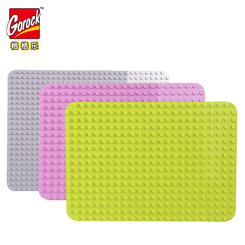 GOROCK 24*17Dots Large Size Baseplate Big Base Plate Exlarge Brick Solid Plate Toys Compatible Legoings Duploe Toys For Children gorock 527 dots large size baseplate big base plate exlarge brick solid plate building block toys compatible duplo for kids gift