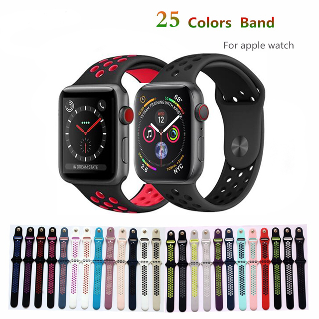 34c86ffa1ea LNOP Silicone Strap For Apple Watch 4 Band 42mm 38mm 44mm 40mm iwatch  Series 3 2 1 Nike Sport Silicone Wrist Bracelet Watchband
