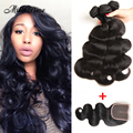 Mink Brazilian Body Wave With Closure 4 Bundles Annabelle Hair With Closure Brazilian Virgin Hair With Frontal Thick Hair Weaves