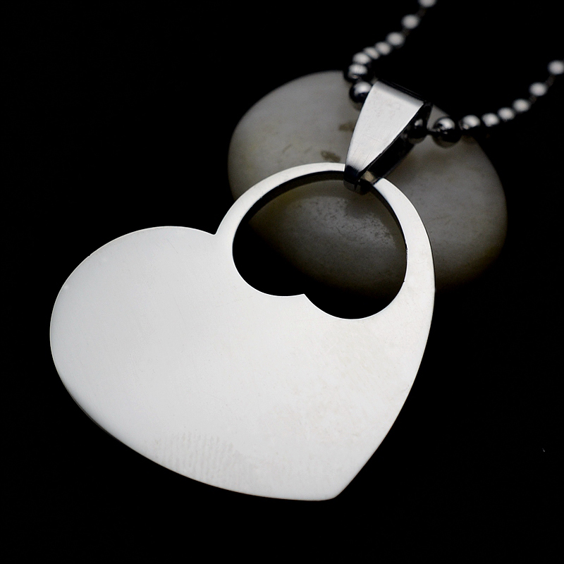 50PCS of Wholesale lot Silver Tone High polished Stainless steel Double Heart blank dog tag charm