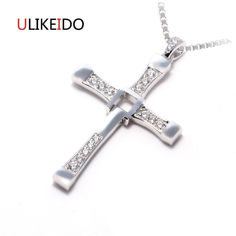 100% Pure 925 Sterling Silver Jewelry Fast and Furious Pendant With AAA Zircon Crosses Rotatable Necklace High Quality Choker 100% high quality the fast and the furious celebrity vin diesel item crystal jesus cross pendant necklace for men gift jewelry